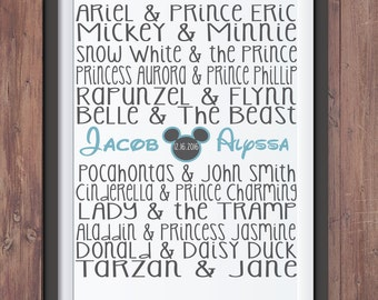 Famous Disney Couples Digital Printable 8x10- Wedding/Bridal Shower/Anniversary Sign- Home Decor