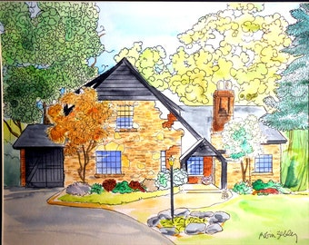 House Portrait Painting, Watercolor with Ink Details, Fall Folliage Gift Certificate
