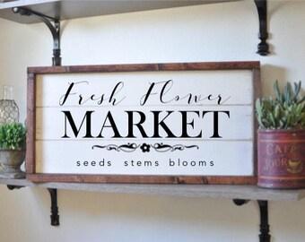 fresh flower market, framed shiplap, vintage wood sign