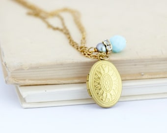 Mothers Day Gift - Oval Locket - Layered Necklace - Gold Layered Locket Pendant - Antique Style - Gold Oval Locket - Pale Blue Crystal Charm