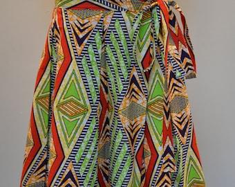 Multi-Print African Wax Print Midi wrap Skirt, Red, Green, for her, african skirt, midi skirt, African Skirt, Summer skirt, For her, Women's