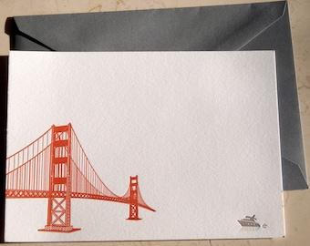 Golden Gate Bridge Letterpress Notecards, 4 cards and envelopes