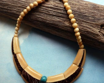Ivory leather and turquoise Choker