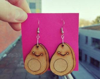 Wooden Avocado Earrings
