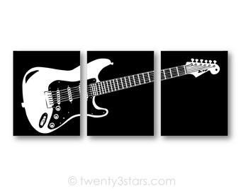 Electric Guitar Art Prints Canvas Gift For Guitarist Wall