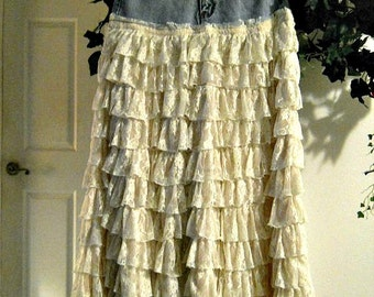 Belle Bohémienne ruffled lace jean skirt exquisite vintage fairy goddess Gatsby inspired Renaissance Denim Couture  Made to Order