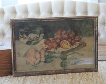 Antique Original Frame Victorian Watercolor Rose Painting Shabby Chic Floral
