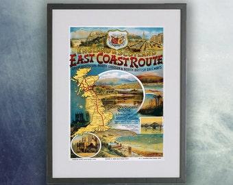 East Coast Route Vintage Poster Print