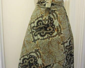 African print Hi/Low wrap skirt