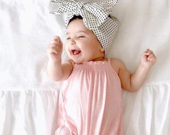 Polka Dot Head Wrap, Girls Headwrap, Baby Girl Headwrap, Girls Headband, Big Bow Headwrap, black, cream - MARILYN PINDOTS