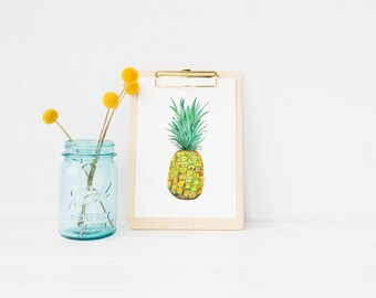 Pineapple watercolor art | Pineapple art | Pineapple painting | pineapple watercolor | tropical art | beach art| fruit art | fruit painting