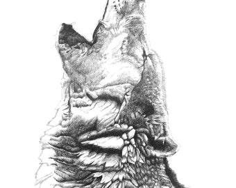 Spirit Caller Wolf Portrait Screen Print