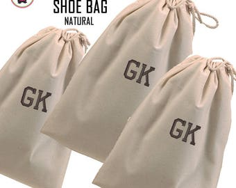 FOR HIM Monogrammed Set of 3 Shoe Bags - Natural -Free Ship