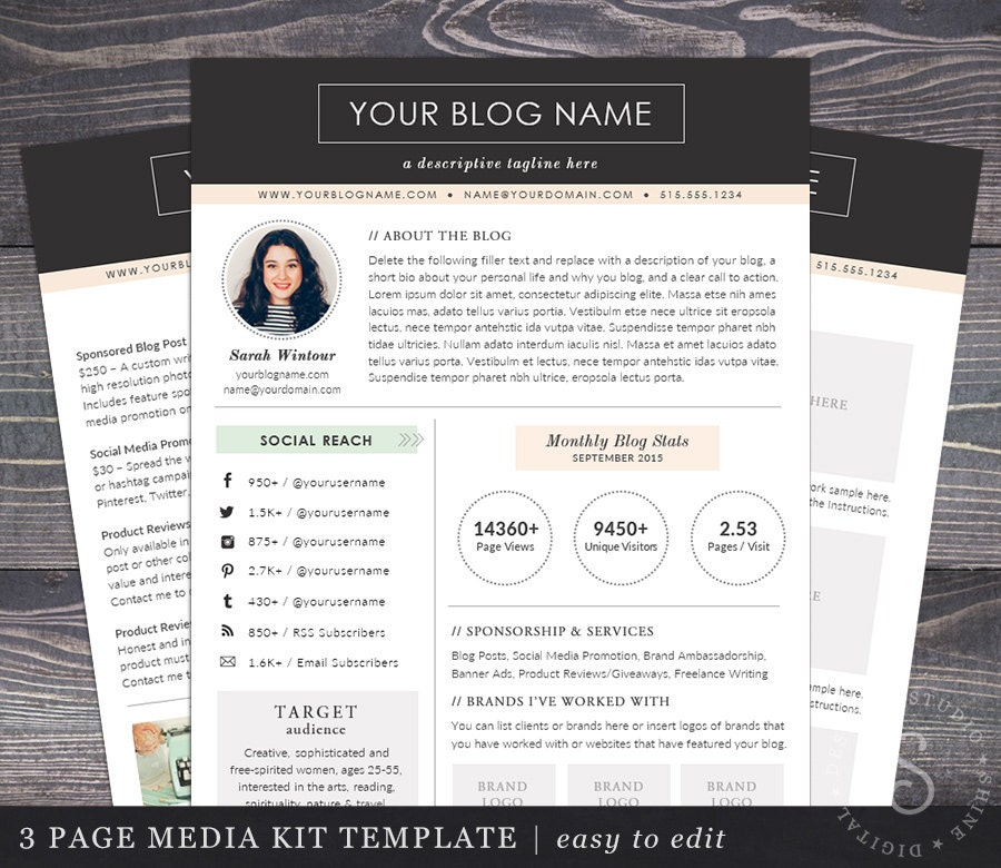 Media Kit Template Blogger Media Kit  Page Blog Press Kit Ad