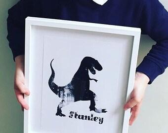 Personalised dinosaur name print