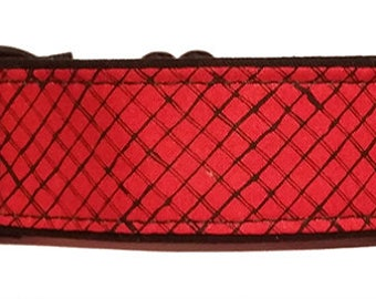 """Red and Black 1.5""""  Martingale Collar-"""