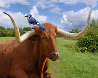 cow art gift longhorn calf bull cattle ranch farm oil on canvas painting print