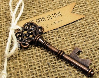 Key Bottle Opener - Rustic Wedding Favor - Set of 10 - Skeleton Key - Personalized - Custom - Unique - Vintage inspire - Key Ring