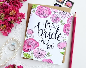 For the Bride to be, Happily Ever After, Engagement , Wedding, Bridal Illustration, Greeting Card, Congratulations on your engagement