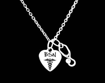 Gift For Nurse, BSN Stethoscope Nurse Necklace, Christmas Gift, Graduation Gift, Nurse Charm Pendant Necklace
