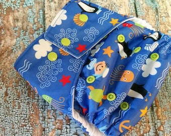One Size Pocket Cloth Diaper Playful Peguins 15-40 lbs PUL, stay dry, organic, os, toddler