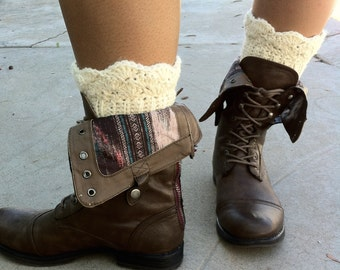 Crocheted Boot Toppers - Leg Warmers - Boot Cuffs - Aran