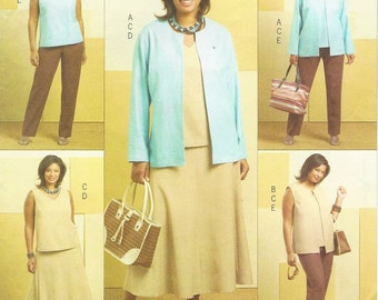 Plus Size Womens Jacket, Vest, Top, Skirt and Pants OOP Butterick Sewing Pattern B4817 Size 26 28 30 32 Bust 48 50 52 54 UnCut