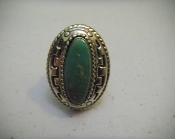 Vintage Southwestern Design Carolyn Pollack Relios Sterling Silver Ring Turquoise Size 10