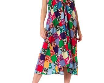 1970s Ethnic Patchwork Summer Halter Dress