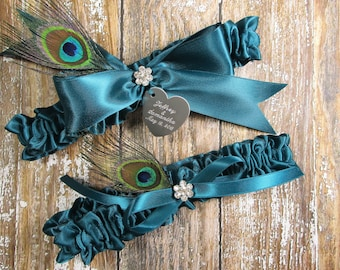 Teal Wedding Garter Set with Peacock Feathers and Personalized Engraving