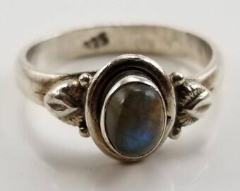 Vintage Sterling Silver Southwestern Oval Green Moonstone Ring Size 7 ,Southwest Style Gemstone Ring