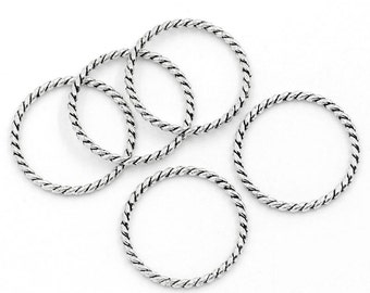 "Antique Silver, Twisted, Closed, Soldered Jump Rings, Connector, 26 mm (1"" diam.), 10 count (JRC-26-AS)"