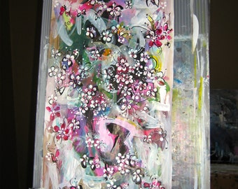 flowers painting 10inch x 20inch abstract painting pink art, abstract flower art, flowers, flower petals, pink art