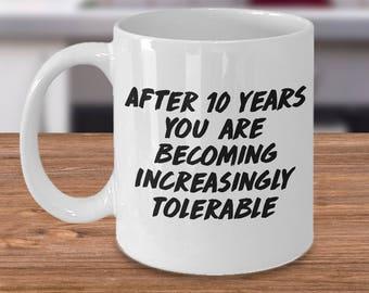 10 year anniversary mug, 10th anniversary mug, 10th anniversary, 10th anniversary gift, 10th anniversary mugs, 10 year anniversary mugs