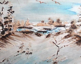 Vintage impressionist oil painting winter landscape