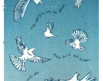 Wander afar, art print of NZ birds, kereru, kotuku, fantail, tui, silvereye.
