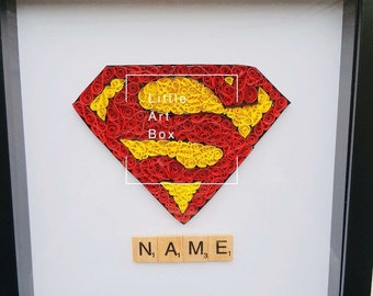 Handmade paper quilled Superman frame