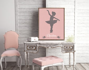 Personalized Canvas Prints Wall Art or Giclee Print for Home Decor or Nursery with Pink and Modern Feel ballerina Gift Idea