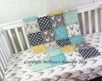 Custom Rustic & MOD Deer Arrows and Woodgrain Grey Navy Mint and Mustard Yellow Boutique Designer 2 Piece Crib Bedding Set MADE To ORDER
