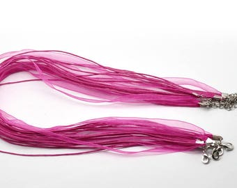 Necklace 43cm waxed cotton thread and Fuchsia Organza Ribbon