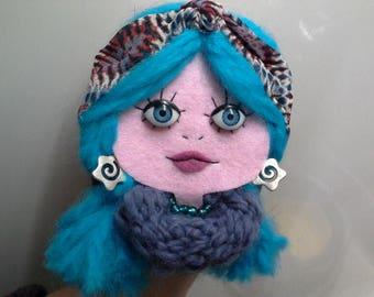 Felt Brooch Portrait Art Doll June Neon Blue
