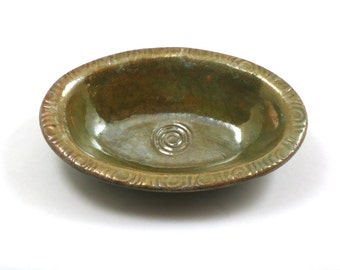 SOAP DISH Gold tone Ceramic Pottery