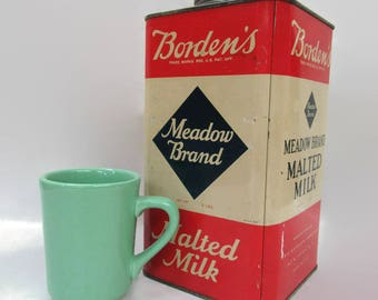 Borden's Meadow Brand Malted Milk Tin Canister 5 lbs.; Tin, Food Tin, Canister, Antique Tin, Antique Food Tin, Antique Canister