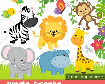 Jungle Friends - Animal clipart - Clip art and Digital paper set