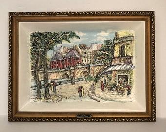 PARIS Memorabelia Porcelain Three Dimensional Wall Platter, Framed Paris Streetscape rectangular platter
