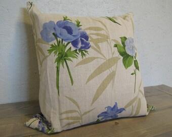 Linen Pillow Cover, , Floral Print Pillow Cover, Blue Floral Pillow Cover, 24x24, Cushion Cover