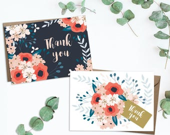 Set of 8 thank you cards, floral thank you card set, thank you card, thank you card set