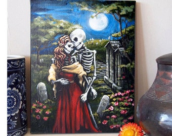 Day of the Dead Canvas Art Skeleton Romantic Couple Wedding Gift Eternal Embrace print. Gothic Wall Art. Lovers Boyfriend Paperback Romance
