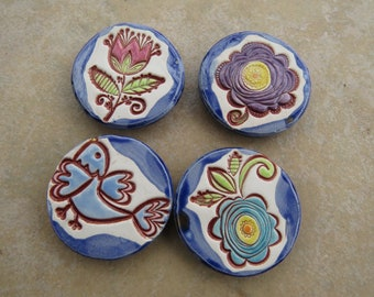 Flowers Magnets Set, Essential Oils Diffuser Magnets, Floral And Bird Magnets Set, Refrigerator Magnets, Kitchen Magnets, Ceramic Magnets