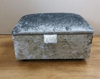 Steel Grey Crushed Velvet Stool/Storage Box/Pouffe